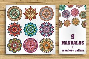 9 Mandala + Seamless pattern