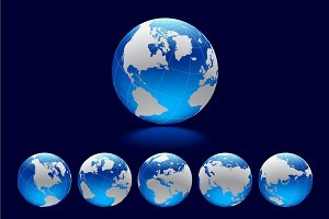 Blue Globe with world map