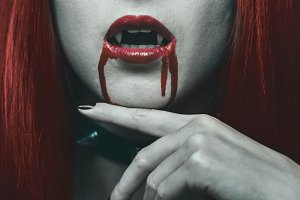Vampire woman in the blood