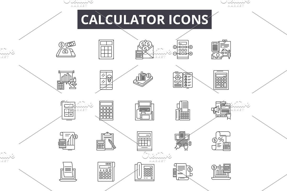 Calculator line icons, signs set