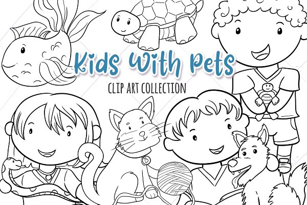 Kids With Pets Black and White