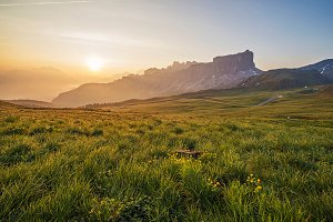 Sunset Dolomites from passo di Giau