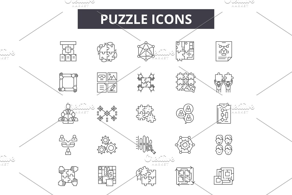 Puzzle line icons, signs set, vector
