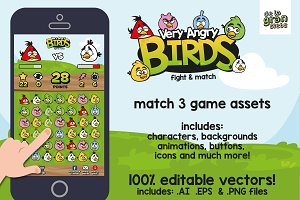 Very Angry Birds Match 3 Game Assets