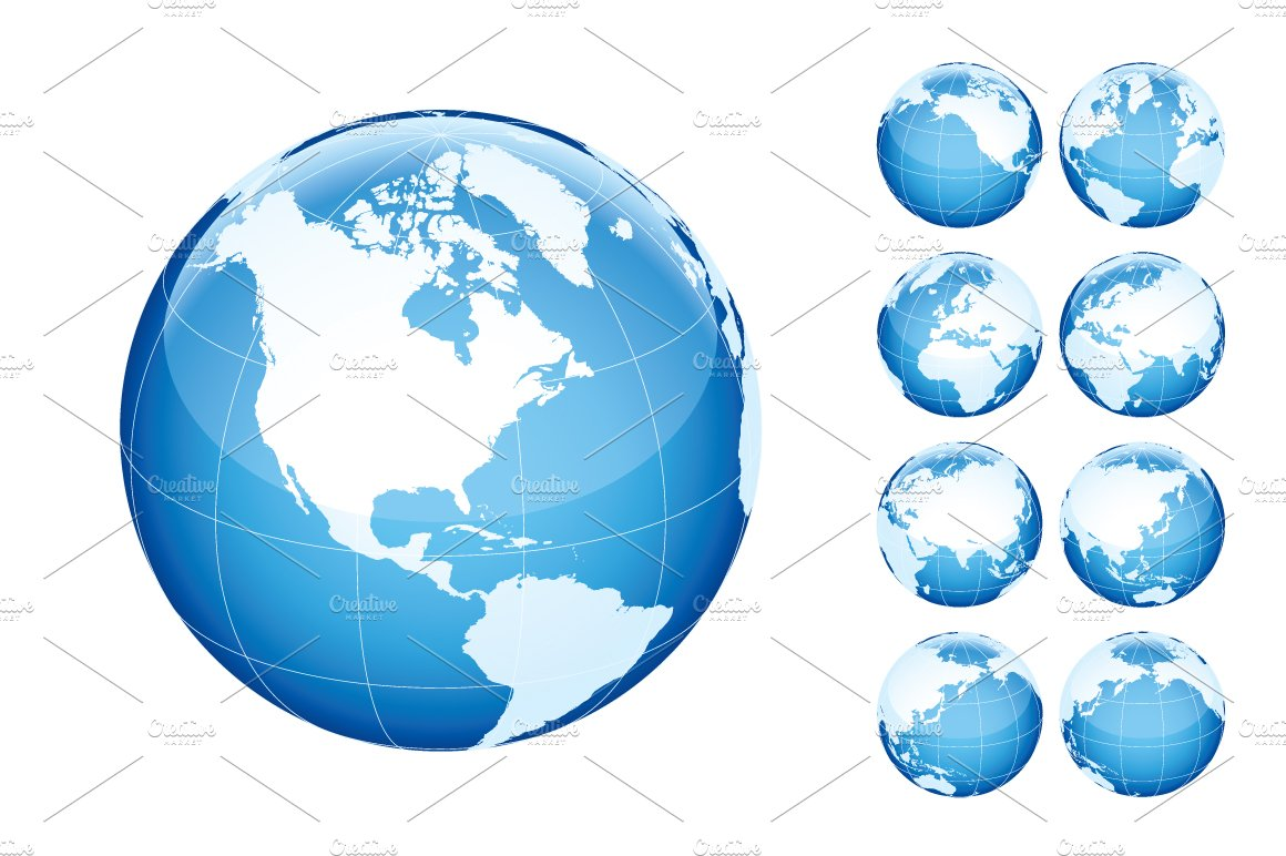 . globe with world map blue  illustrations  creative market
