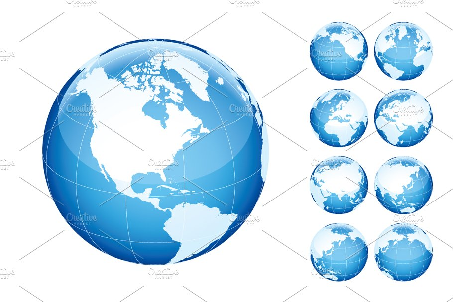 Globe with world map. Blue. ~ Illustrations ~ Creative Market on