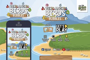 Very Angry Birds Bubbles Game GUI As