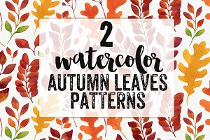 2 Watercolor Autumn Leaves Patterns