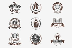 Set of Vintage Beer Badges