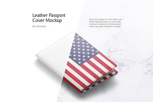Leather Passport Cover Mockup