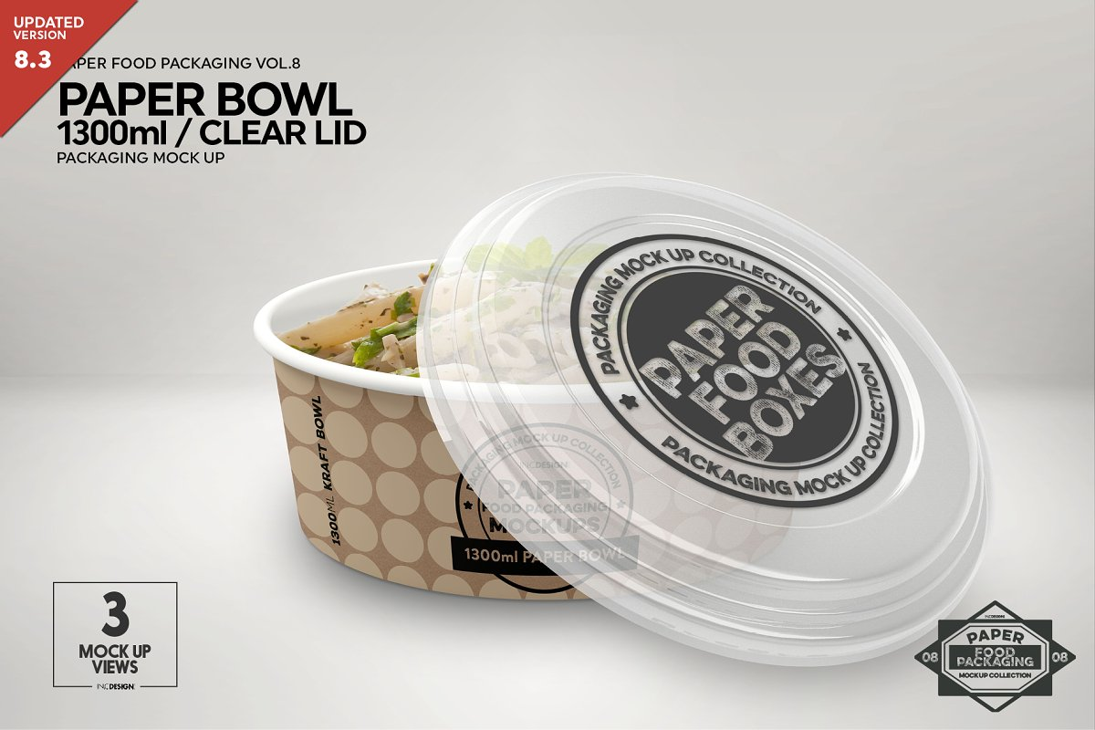 1300ml Paper Bowl Clear Lid Mockup