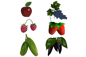 Set of 6 Fruits and Vegetables