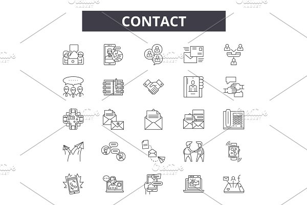 Contact us icon set  Website linear ~ Graphics ~ Creative Market