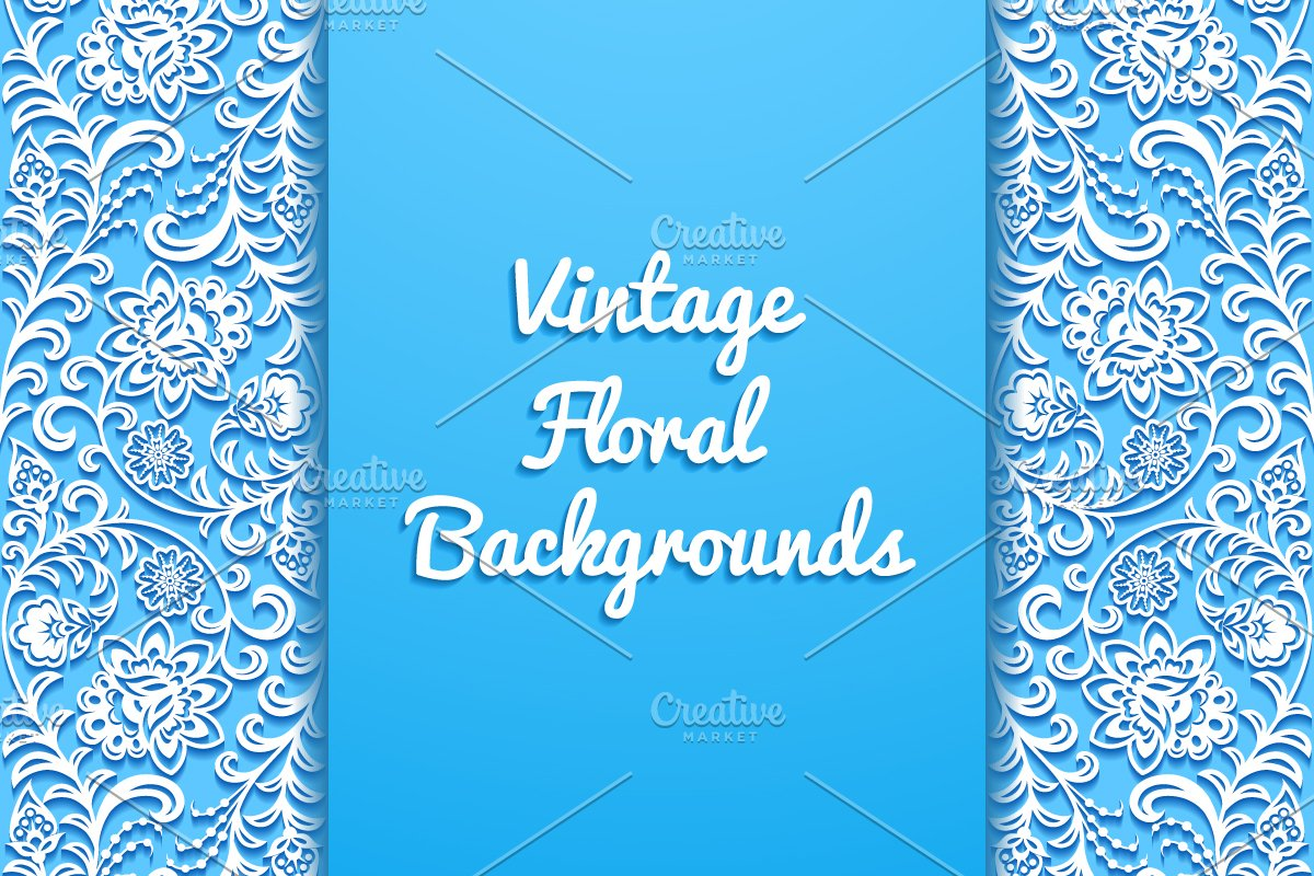 Vintage Floral Backgrounds Custom Designed Illustrations