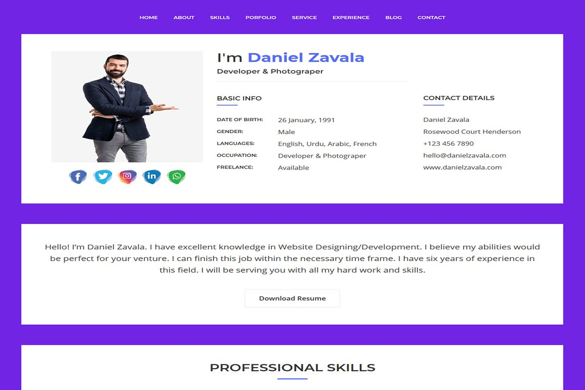 Daniel Creative Resume HTML template