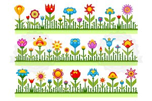 Floral borders with abstract flowers