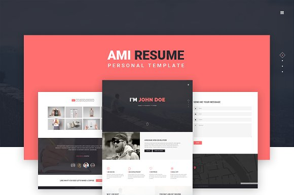 ami personal template html css themes on creative market. Black Bedroom Furniture Sets. Home Design Ideas