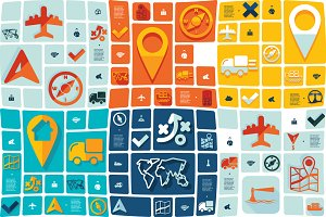 9 navigation flat infographics