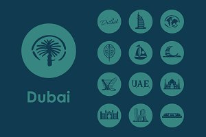 Set of Dubai simple icons