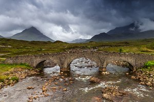 River and bridge in the fields, Skye