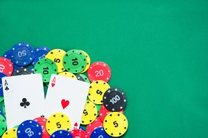 Poker cards and poker chips