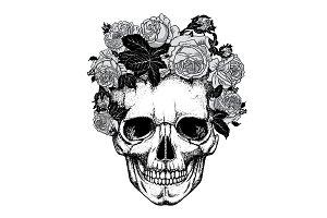 floral headband on skull