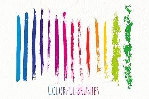 Rainbow ink brushes Vector