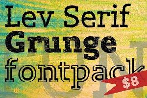 Lev Serif Grunge Font Bundle