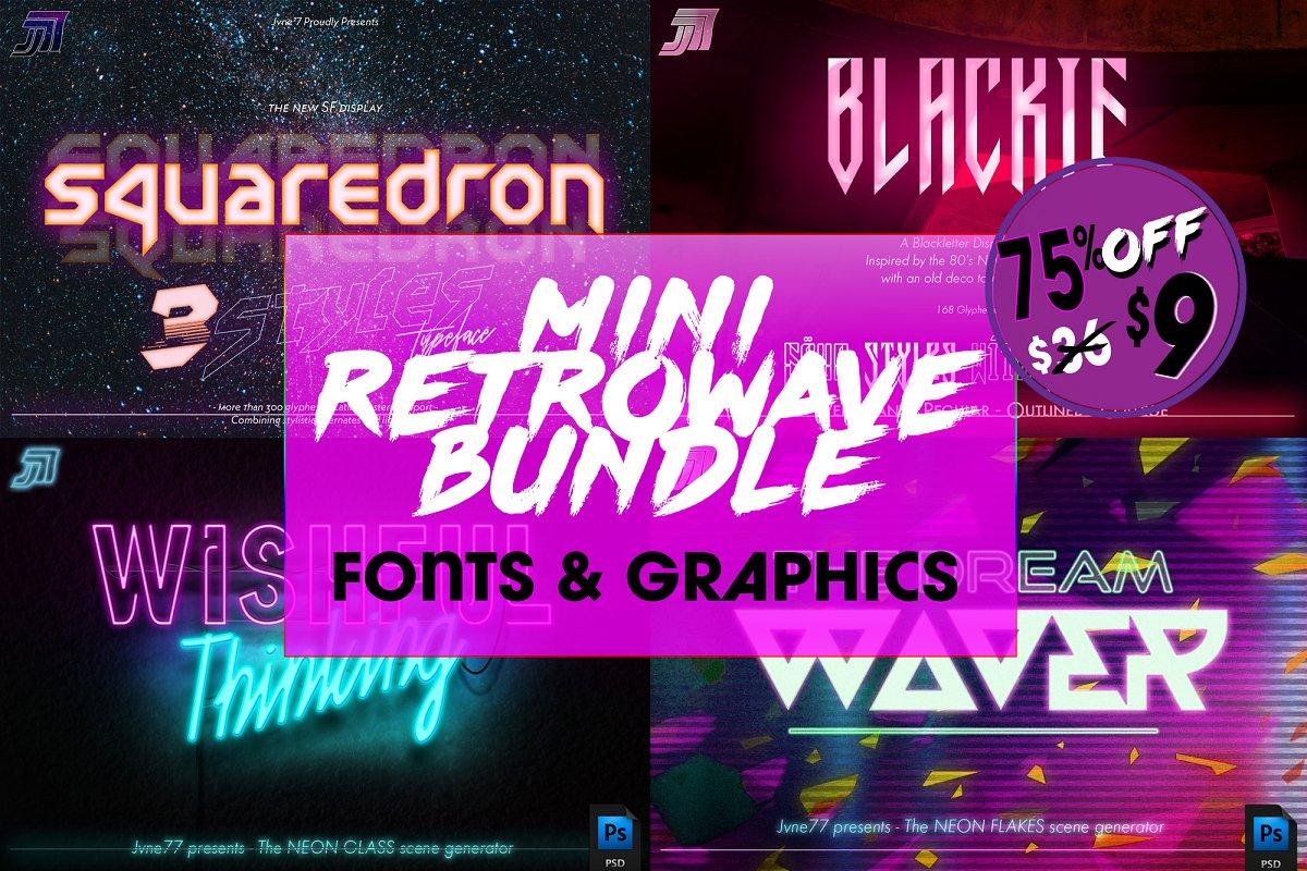 Retrowave Bundle of Fonts & Graphics ~ Fonts ~ Creative Market