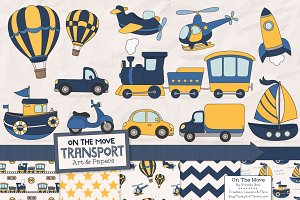 Navy & Yellow Transportation Clipart
