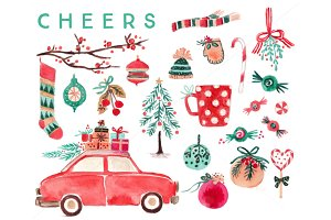Watercolor Christmas Clip Art Set