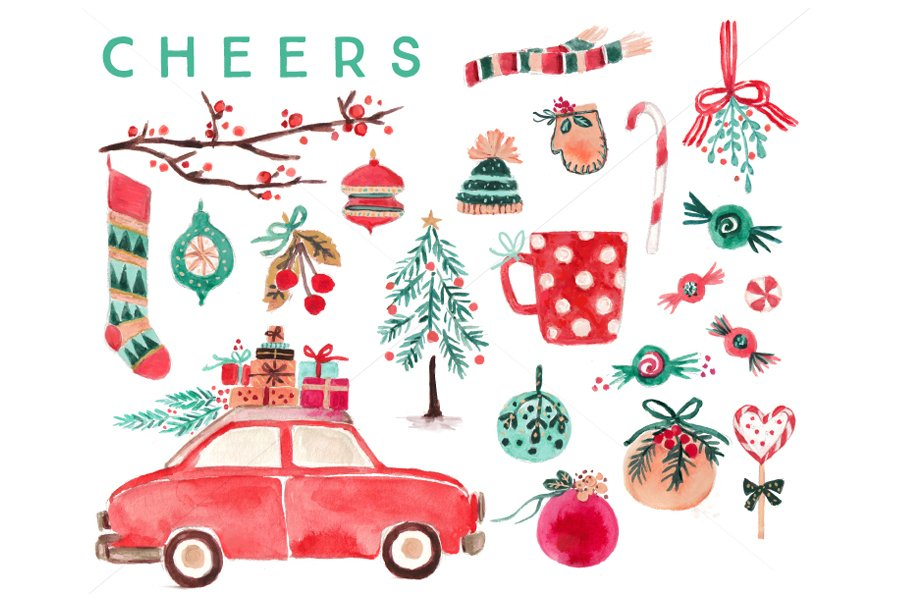 Watercolor Christmas Clip Art Set ~ Illustrations ...