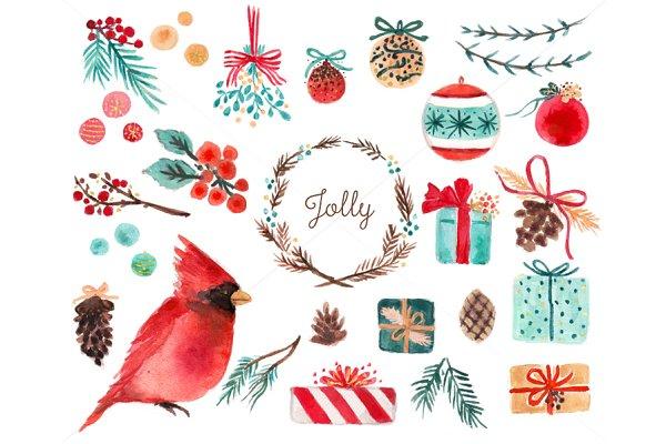 Watercolor Holiday Clip Art