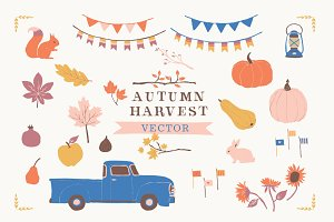 Fall Harvest Clip Art Set