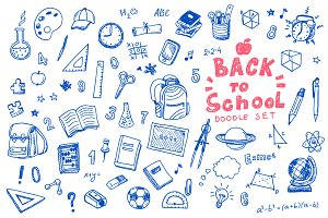 Back to school doodle vector set