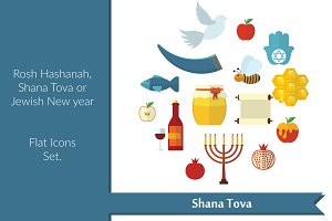 Jewish New year flat icons set