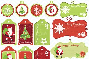 christmas tags label frames clipart