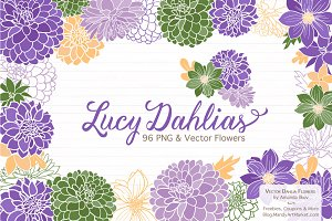Purple Dahlia Clipart & Vectors