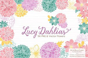 Summer Dahlia Vectors & Clipart