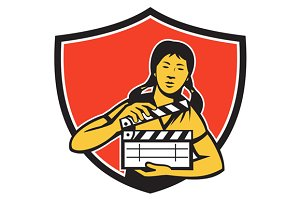 Asian Woman Movie Clapper Shield Ret