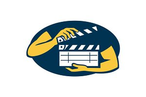 Hand Holding Movie Clapboard Oval Re