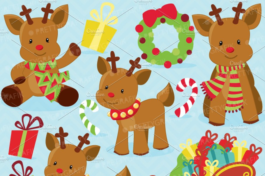 Christmass reindeer. Christmas clipart