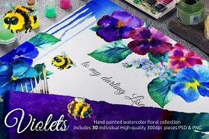 Violets floral collection PSD&PNG