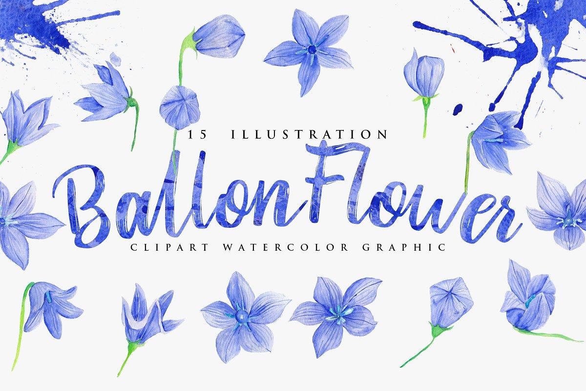 15 Watercolor Ballon Flower in Objects