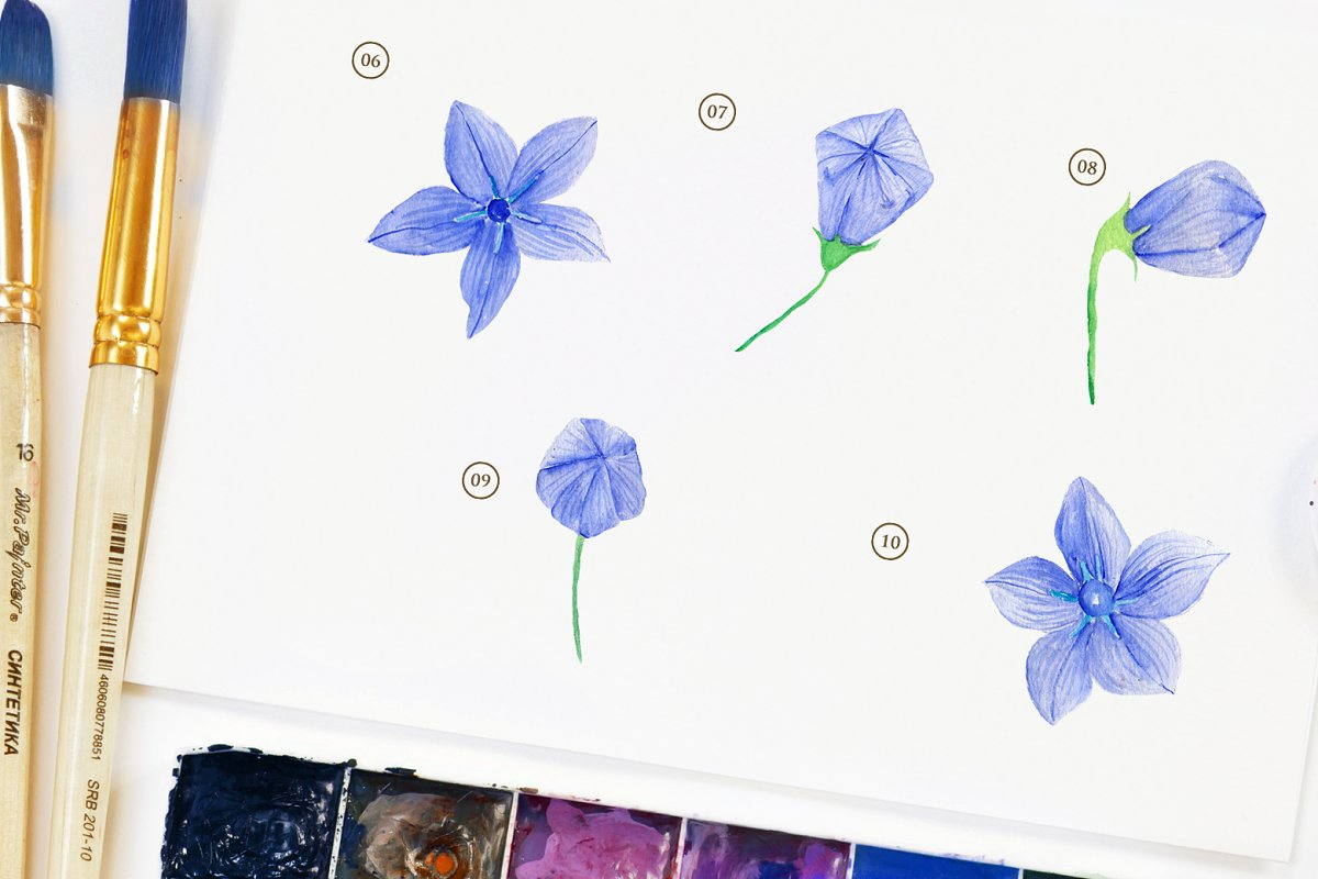 15 Watercolor Ballon Flower in Objects - product preview 2