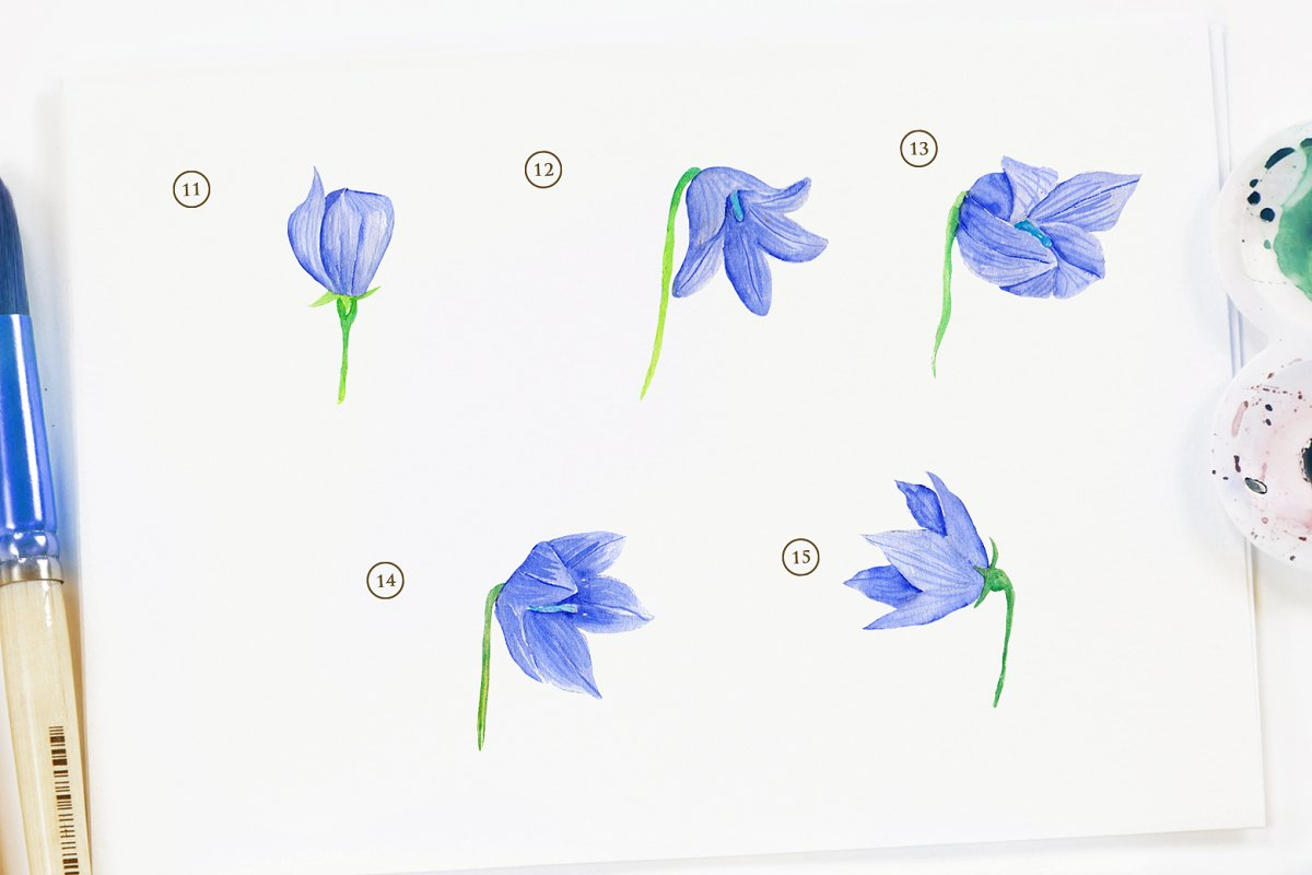 15 Watercolor Ballon Flower in Objects - product preview 3