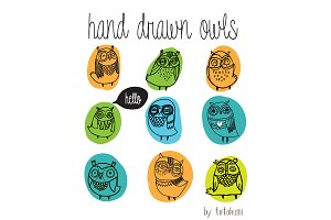 hand drawn owls