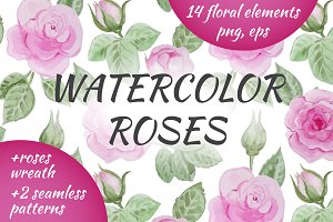 Watercolor roses set