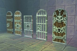 Low Poly 3D Pixel Door Set