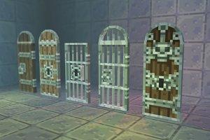 Low Poly 3D Pixel Door Set